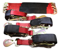 "Qty 4 Axle Strap Tie Downs 24"" Long & Qty 4 Ratchet Tow Straps Car Haulers, RED"
