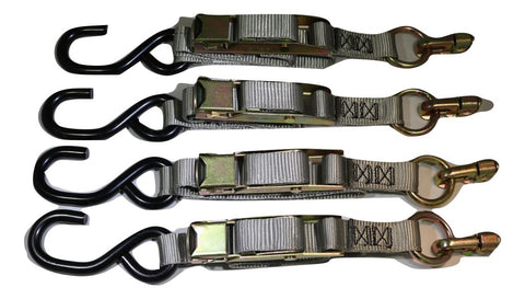 Qty 4 Manual Overcenter Buckle Strap w/ S-Hook, Fits L-Track - ratchetstrap-com.myshopify.com