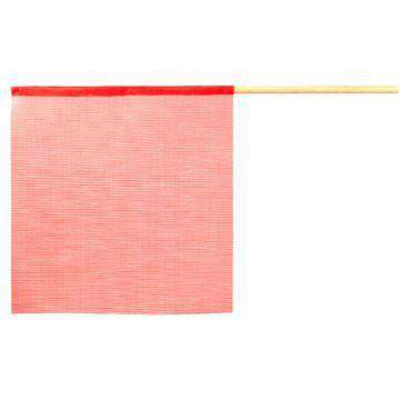 Red Warning Flag - Vinyl Mesh On Wooden Dowel Flatbed