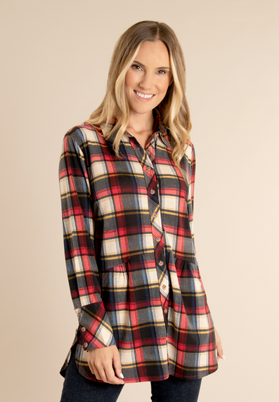 Plaid Button Up Top (2 Colours)