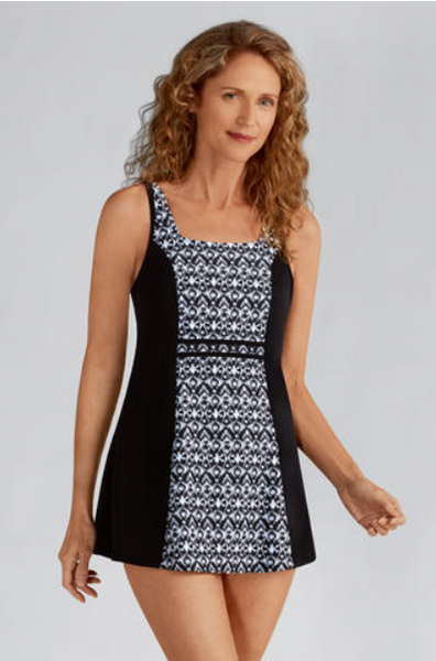 Lima Swimdress-Black/White