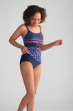 Morocco Tankini Set (Print Bottom)-Blue/Royal/Red-8C