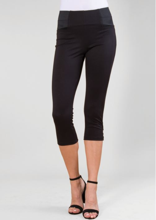 Ponte Cropped Button Pant-3 Colours