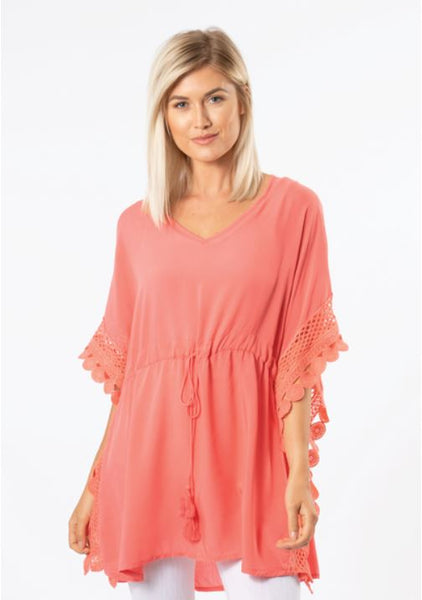 Crochet Trim Tunic-2 Colours