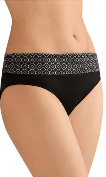 Ayon High Waist Brief-Black & White