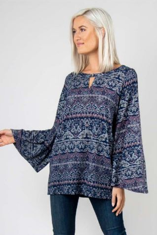 Bell Sleeve Filigree Top