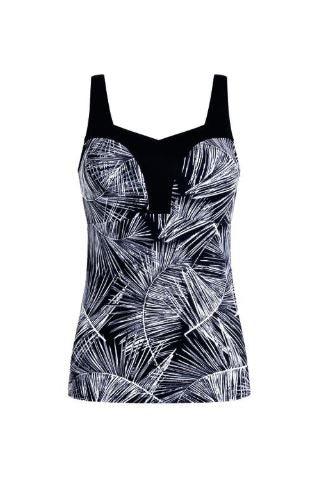 Florida Tankini TOP ONLY-Black/White/Silver