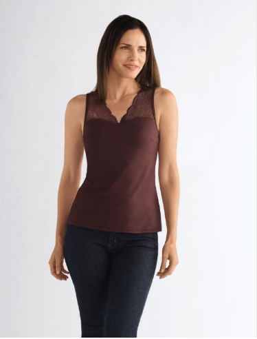 V-Neck Top with Lace-Dark Burgundy-M