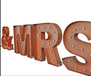Metal rustic MR &MRS marquee light sign