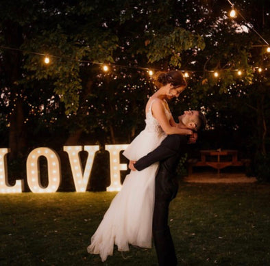 White metal LOVE marquee light sign