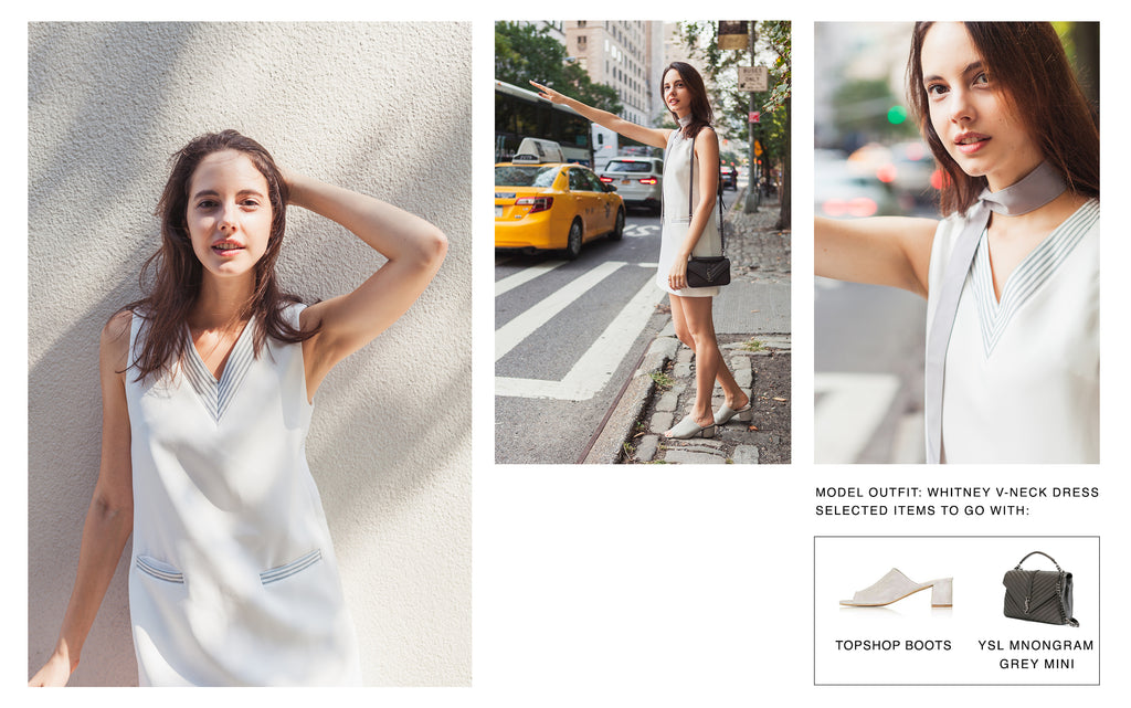 Perfects looks for petite girls | Model wearing Petite Studio's White Whitney V-neck Dress