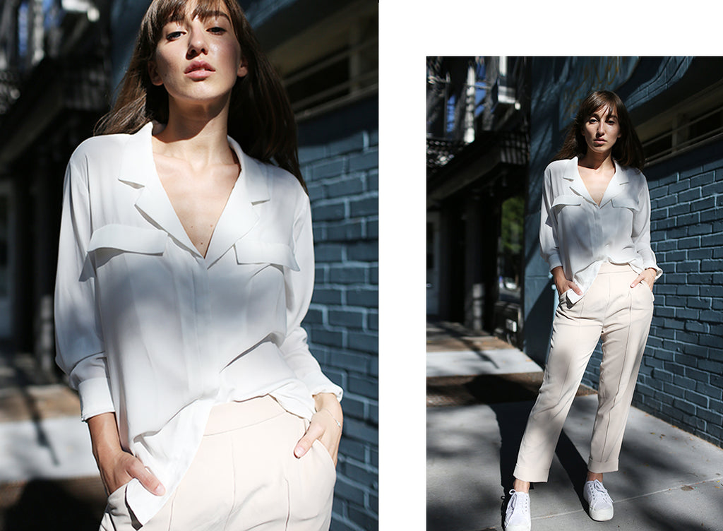 Model wearing Petite Studio's White Hudson Low Cut Blouse | Lookbook-petite clothing & Tops