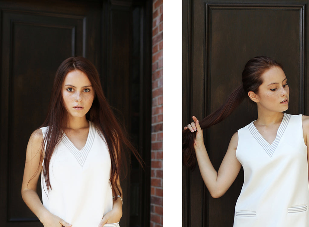 Model wearing Petite Studio's White Whitney V-neck Dress | Lookbook-petite clothing & Dresses