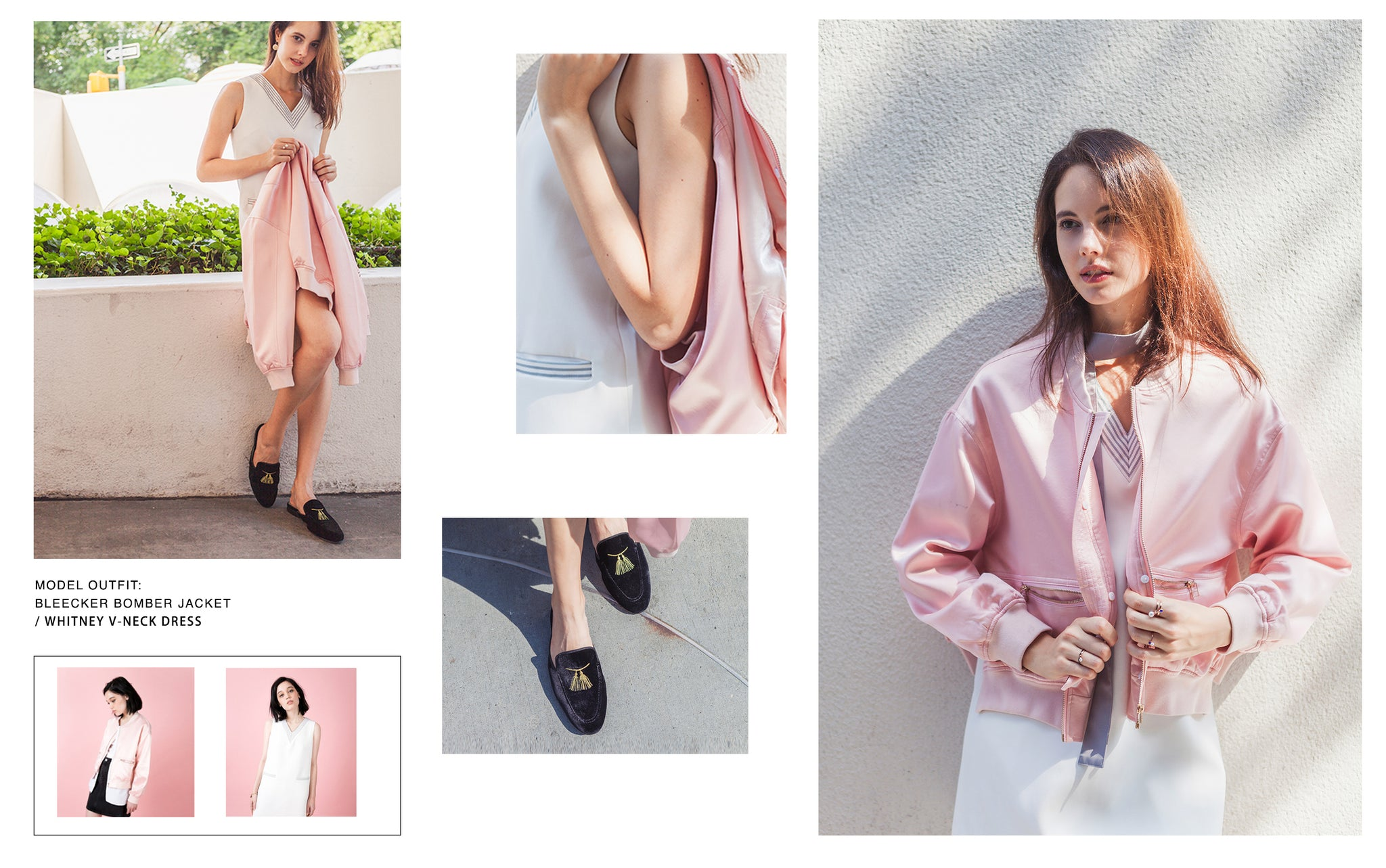 Model wearing Petite Studio's Pink Bleecker Bomber Jacket to pair with the Whitney V-neck Dress
