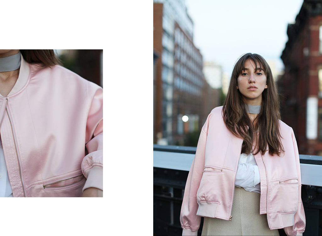 Model wearing Petite Studio's Pink Bleecker Bomber Jacket | Lookbook-petite clothing & Outerwears