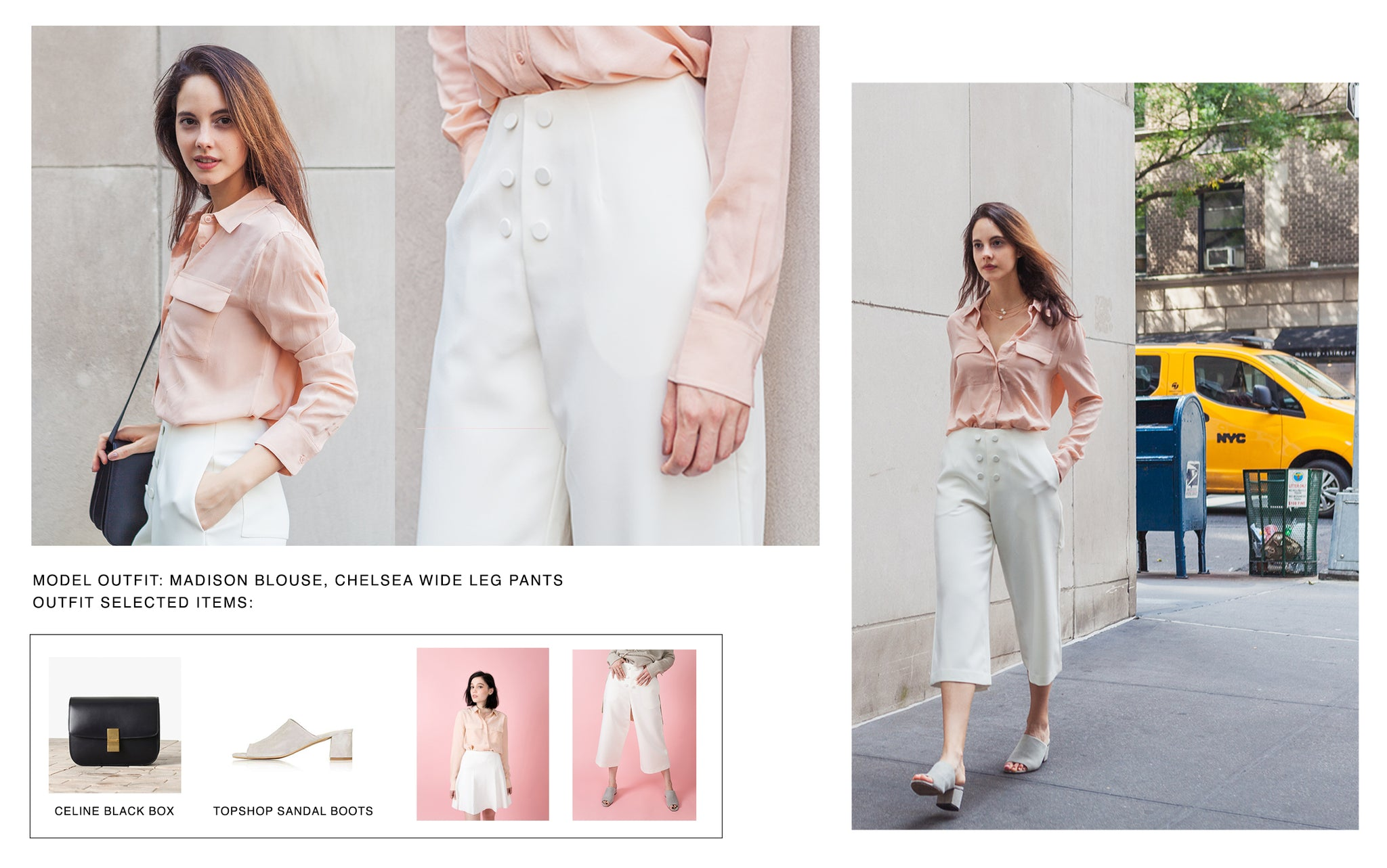 Model wearing Petite Studio's Champagne Madison Pocket Blouse paired with White Chelsea Wide Leg Pants