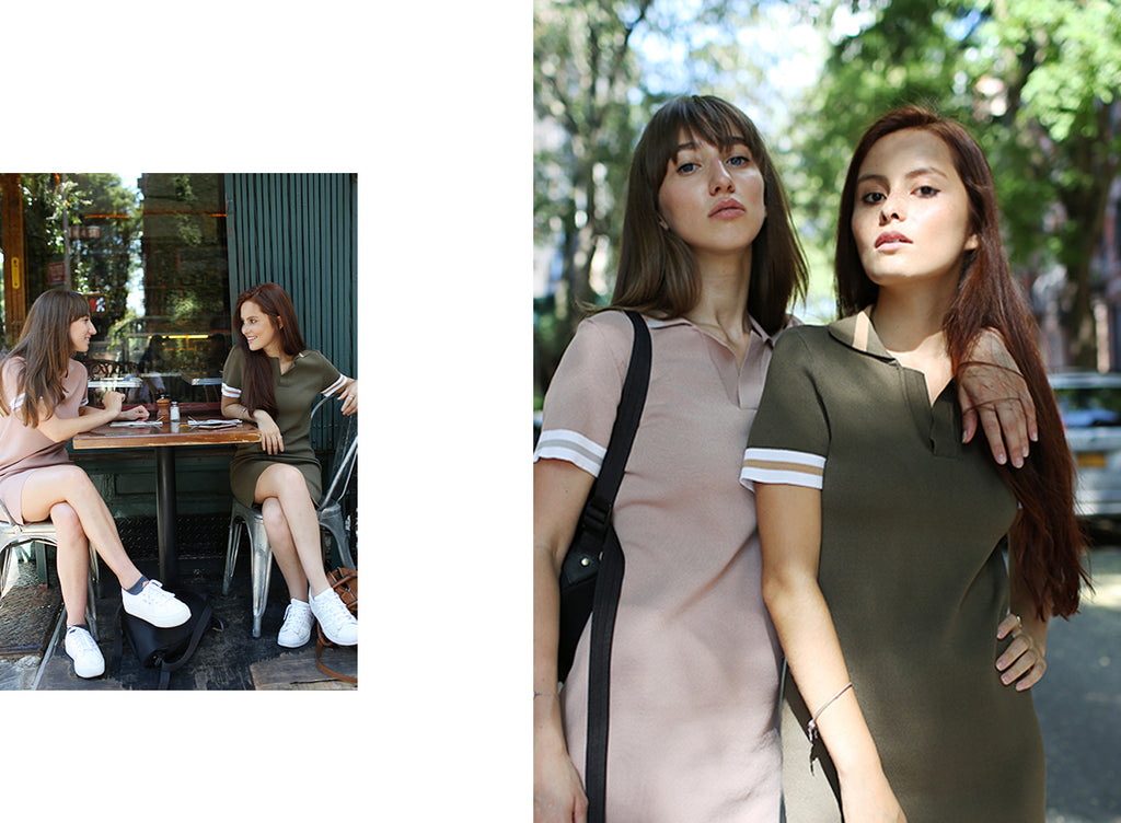 Two models wearing Petite Studio's Nolita Polo Knit Dress - Pink & Khaki | Lookbook-petite clothing & dresses