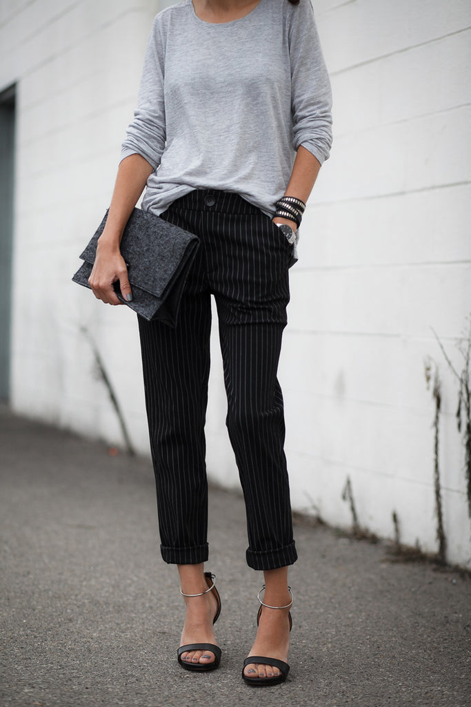 Alterations Needed Featuring Petite Studio's Pinstripe Pants