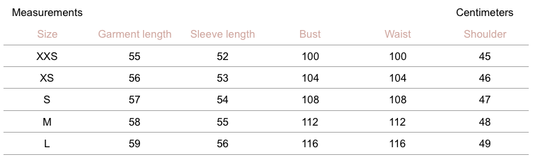 Aubrey Cashmere Sweater - Sky - measurement chart