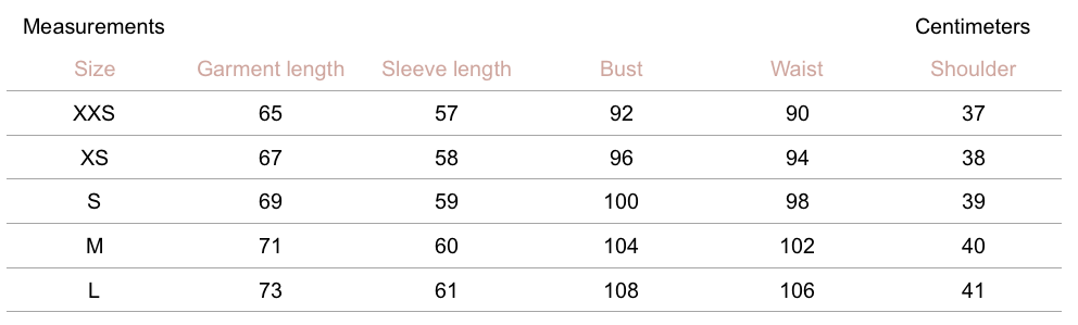 Austen Jacket - Cocoa - Petite Studio NYC - Measurement Chart