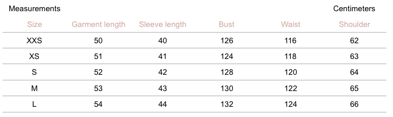 Averie Cashmere Sweater - Sky - measurement chart