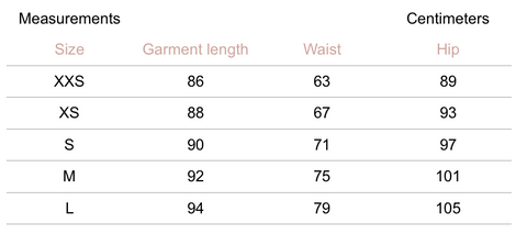 Petite Studio NYC - Belda Pants Steel - Measurement Chart