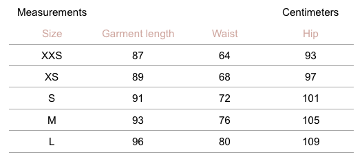 Bella Pants - Navy - measurement chart