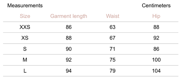 Cassia Pants - Ash - Petite Studio NYC - Measurement Chart