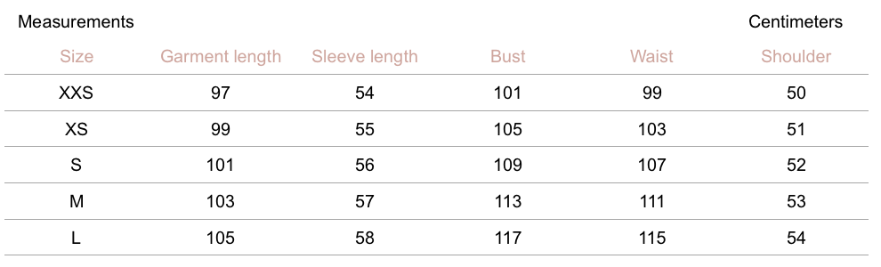 Darcy Trench - Stone - Petite Studio NYC - Measurement Chart