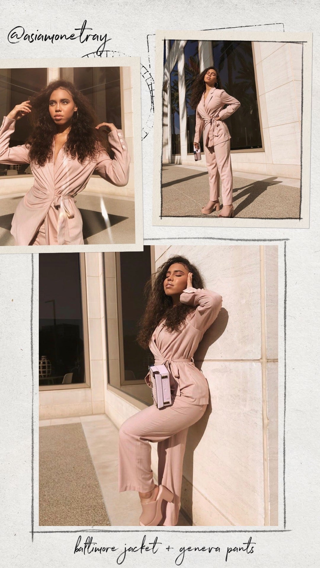 @asiamonetray in the Baltimore Jacket Dusty Rose and Geneva Pants - Petite Studio NYC