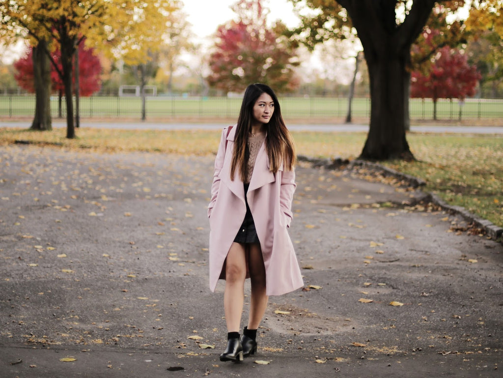 Keen Wearing Petite Studio's Perry Cherry Trench Coat