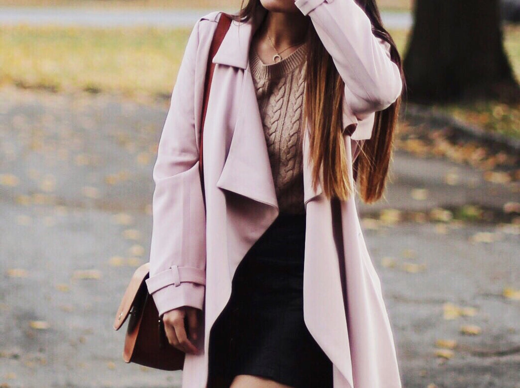 Keen Wearing Petite Studio's Perry Cherry Trench Coat - Details View