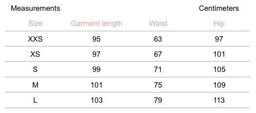 Marta Pants - Graphite - measurement chart