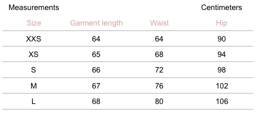 Mercer Skirt - Houndstooth - measurement chart