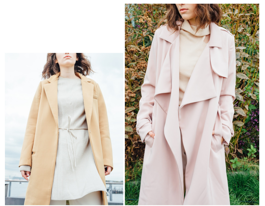 Petite Studio's Outwear - Montauk Camel Coat and Perry Cherry Trench Coat