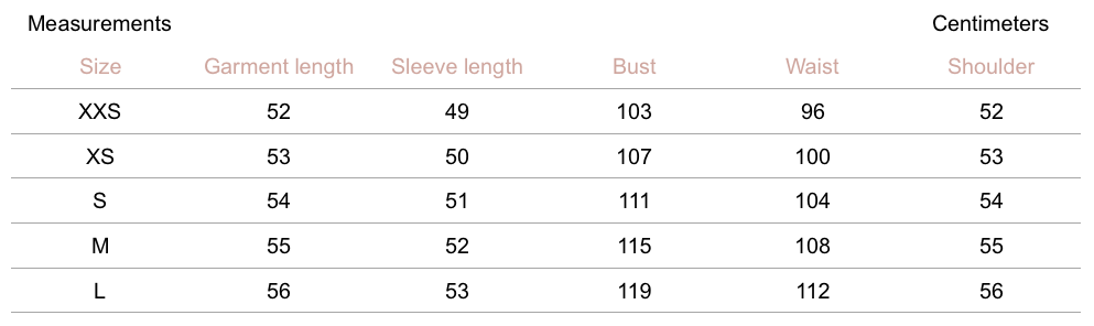 Weston Jacket - Twilight - Petite Studio NYC- Measurement Chart