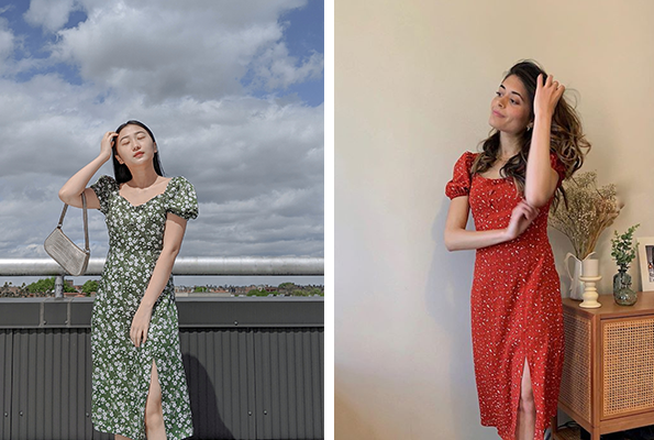 @yuan.again @duanmackenzie Adelaide Dress Green Floral Red Floral - Petite Studio NYC