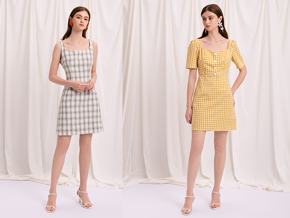 Isla Dress in Mint Gingham and the Lydia Dress in Yellow Gingham
