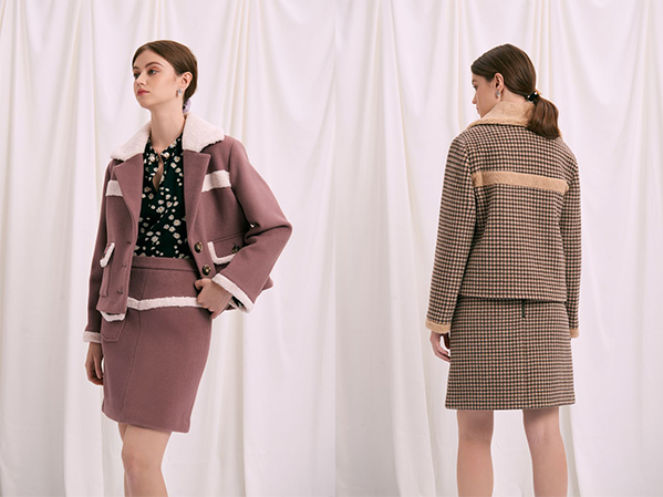 Alisa Wool Jacket Dusty Plum and Chocolate Plaid - Petite Studio NYC