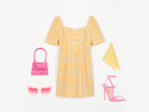Lydia Dress Yellow Gingham styled with Lemon Scarf - Petite Studio NYC 99 Club