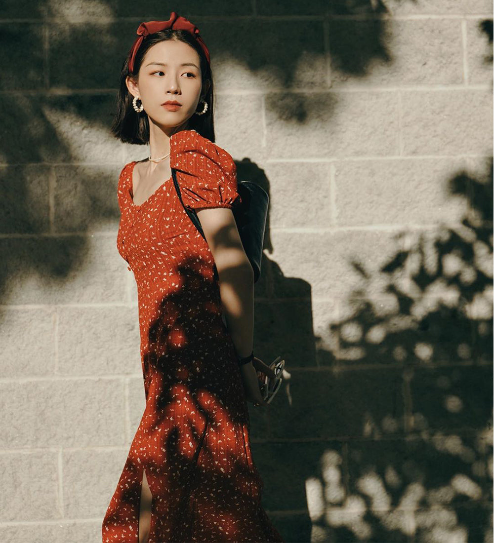 Suggy in Adelaide Dress - Red Print - Petite Studio NYC