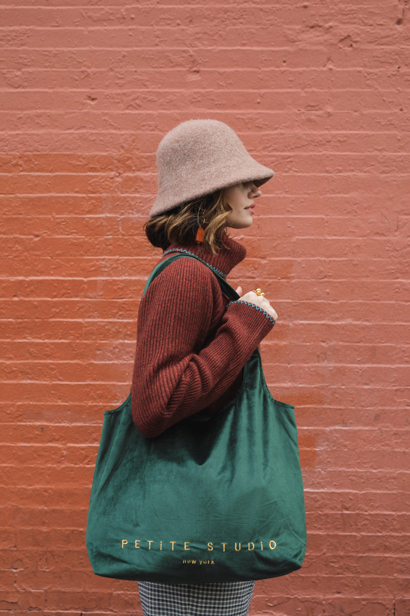 Velvet Tote Bag - Forest Green - Petite Studio NYC