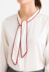 Charlotte Top-Ivory-white real silk long-sleeve top-Petite Studio NYC