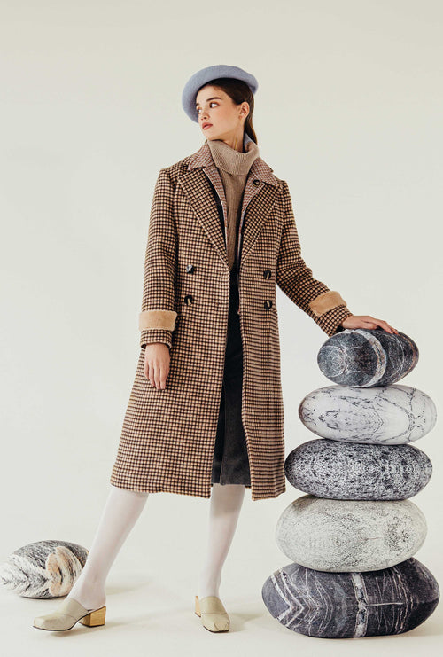 Britta Wool Coat - Chocolate Plaid - Chocolate color plaid slim fit long coat with faux fur cuff and back belt detail - Petite Studio NYC