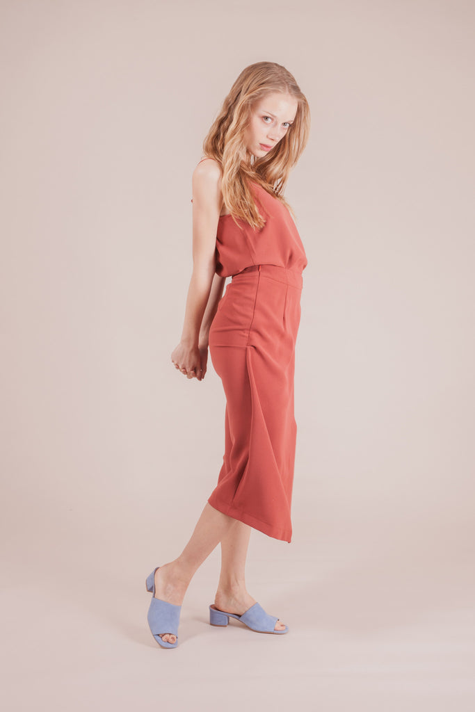 Broome Brick Red Dress | Petite Studio-petite clothing & bottoms