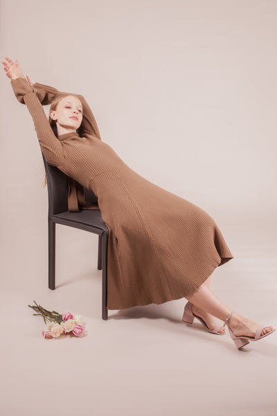 Verdi Knit Dress -Brown | Petite Studio-petite clothing & bottoms