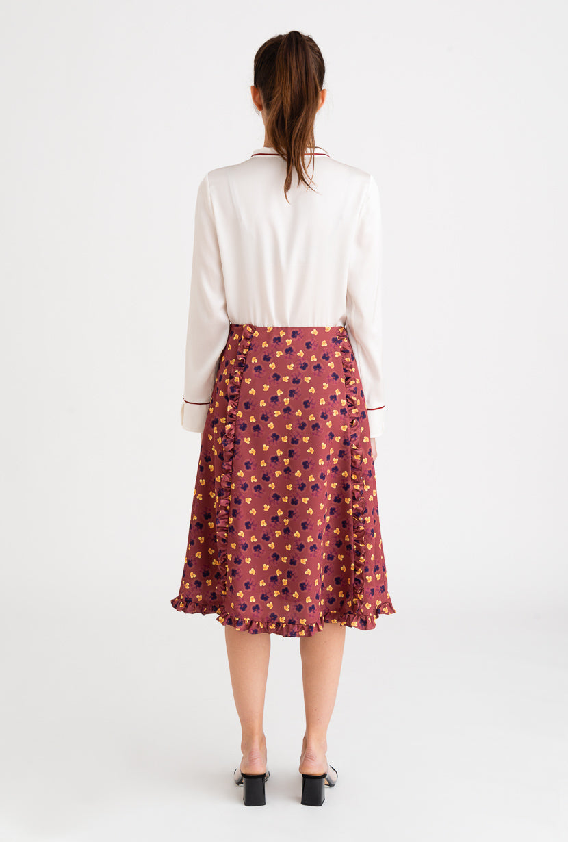 Laila Skirt-dark rose floral print midi skirt-Petite Studio NYC