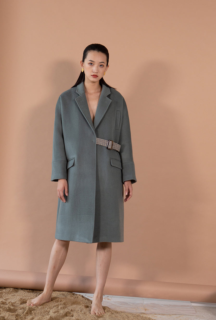 Carmen Wool Coat - Dusk - Dusk kimono sleeve oversized wool coat with plaid adjustable belt - Petite Studio NYC