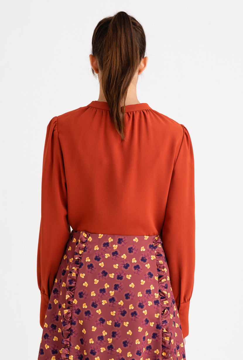 Buvette Pearl Blouse-Cherry Red-cherry red pearl detailed blouse-Petite Studio NYC