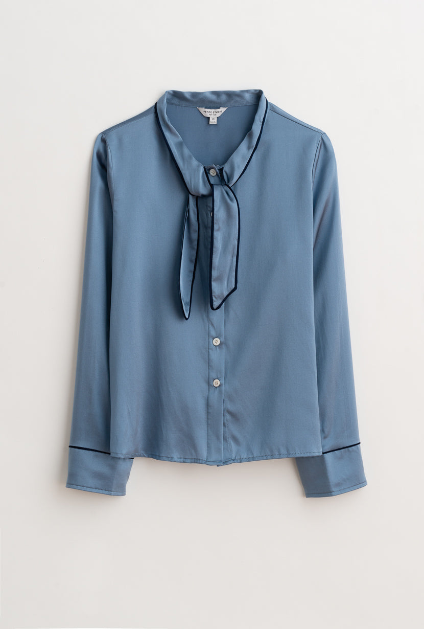 Charlotte Top-Pigeon Blue-dusty blue real silk long-sleeve blouse-Petite Studio NYC